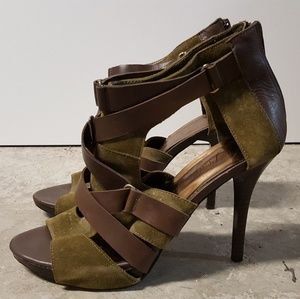 Fergie Green & Brown Leather Strappy Heels